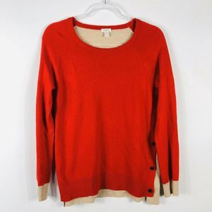 J Crew Side Button Elbow Patch Sweater Red Tan